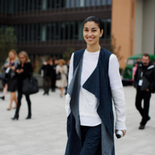 Caroline Issa wears Monica Vinader Baja Stacking Rings at Paris Fashion Week SS14.