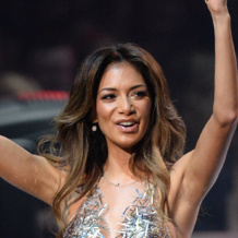 Nicole Scherzinger wears Monica Vinader Ava Diamond Disc Earrings at the XFactor UK Final.