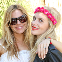 Sienna Miller wears our Rio friendship bracelet to the 2014 Coachella Music Festival, pictured with Poppy Delevingne.
