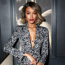 Jourdan Dunn hosted the #CellForGratitude party at NYFW wearing Monica Vinader Baja Diamond, Ava Disc & Ava Diamond Cocktail rings.