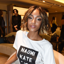 Jourdan Dunn wears the Rose Gold Fiji Chain to the Harrods Shoe Heaven Launch in London.