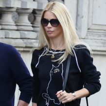 Claudia Schiffer wears the Monica Vinader Large Siren Pendant and Siren Medium Bezel Pendant in Rose Quartz in London