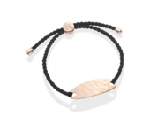 Rose Gold Vermeil Bali Friendship Bracelet - Black Cord - Monica Vinader