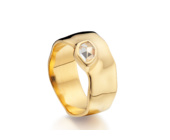 Gold Vermeil Siren Wide Band - White Topaz - Monica Vinader