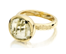 Gp Medina Round Facet Ring - Green Gold Quartz - Monica Vinader