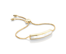 Gold Vermeil Baja Chain Friendship Bracelet - White Agate - Monica Vinader