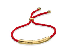 Gold Esencia Friendship Bracelet Coral Red