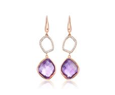 Rose Gold Vermeil Riva Diamond And Amethyst Cocktail Earrings - Monica Vinader
