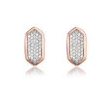 Rose Gold Vermeil Baja Stud Earrings - Diamond - Monica Vinader