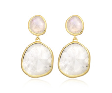 Gold Vermeil Siren Medium Drop Earrings - Moonstone - Monica Vinader