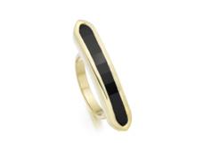 Gold Vermeil Baja Long Ring - Black Onyx - Monica Vinader