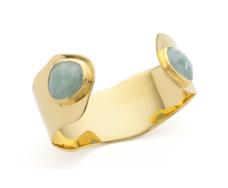 Gold Vermeil Siren Cuff - Aquamarine - Monica Vinader