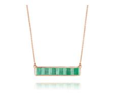 Rose Gold Vermeil Baja Precious Necklace - Emerald - Monica Vinader
