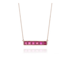 Rose Gold Vermeil Baja Precious Necklace - Ruby - Monica Vinader