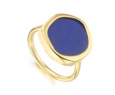 Gold Vermeil Atlantis Gem Ring - Lapis / Metal Relief - Monica Vinader
