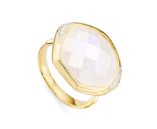 Gold Vermeil Riva Diamond and Moonstone Cocktail Ring - Monica Vinader