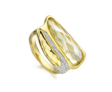 Gold Vermeil Riva Diamond Shore Double Ring - Monica Vinader