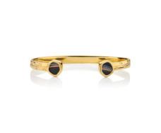 Gold Vermeil Atlantis Thin Cuff - Line Onyx - Monica Vinader