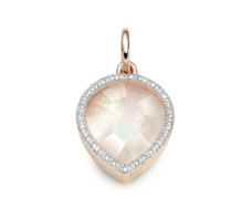 Rose Gold Vermeil Diva Lotus Pendant - Moonstone and Diamonds