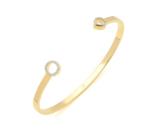 Gold Vermeil Diva Thin Open Cuff - Diamonds