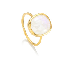 Gold Vermeil Siren Medium Stacking Ring - Moonstone