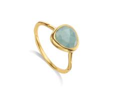 Gold Vermeil Siren Stacking Ring - Aquamarine