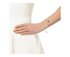 Gold Vermeil Siren Fine Chain Bracelet - Green Onyx