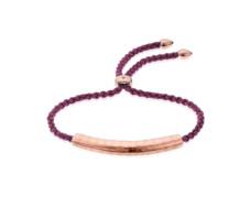 Rose Gold Vermeil Esencia Friendship Bracelet - Red Berry Cord - Red Garnet