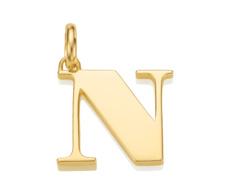 Gold Vermeil Alphabet Pendant N