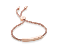 Rose Gold Vermeil Linear Friendship Bracelet - Rose Gold Metallica Cord