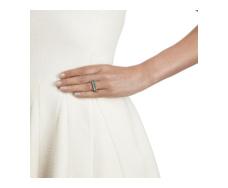 Rose Gold Vermeil Baja Precious Skinny Ring - Emerald Stack