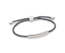 Linear Large Mens Friendship Bracelet - Steel Grey Cord - Monica Vinader