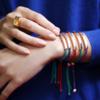 Rose Gold Vermeil Linear Friendship Bracelet - Red Metallica - Monica Vinader