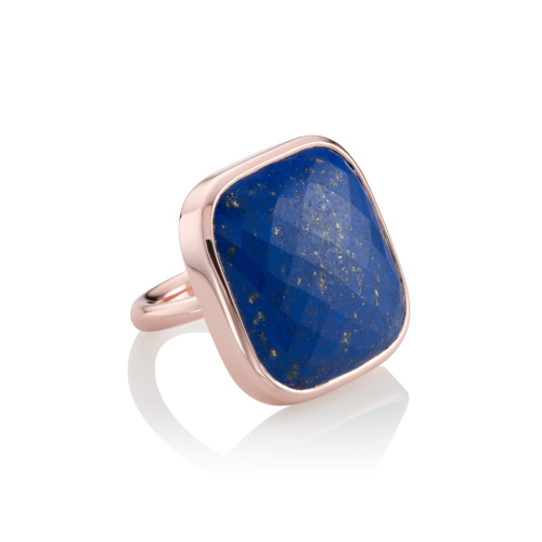 Rose Gold Vermeil Square Facet Ring - Lapis - Monica Vinader