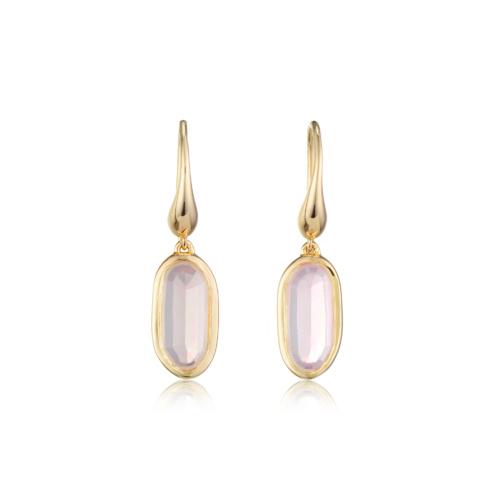 Gold Vermeil Vega Drop Earrings - Rose Quartz - Monica Vinader