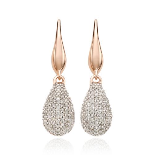 Rose Gold Vermeil Stellar Drop Earrings - White Diamond - Monica Vinader