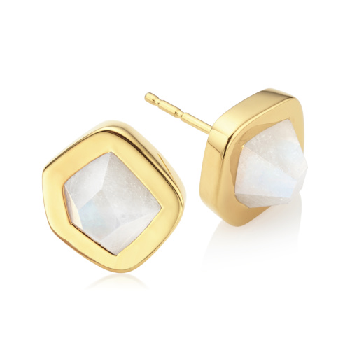 Gold Vermeil Petra Stud Earrings - Moonstone - Monica Vinader