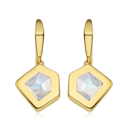 Gold Vermeil Petra Wire Earrings - Moonstone - Monica Vinader