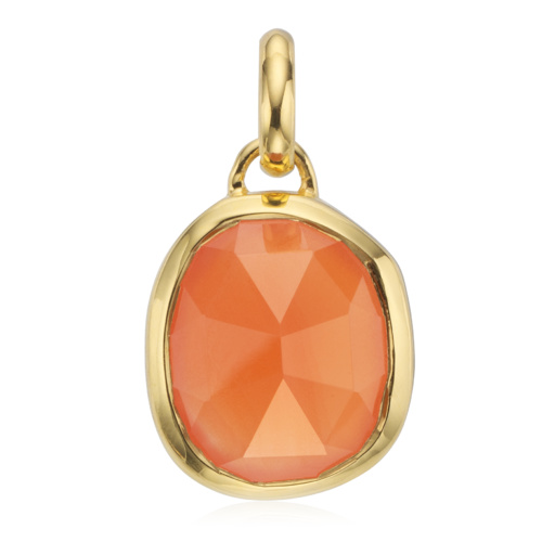 Gold Vermeil Siren Medium Bezel Pendant - Orange Carnelian
