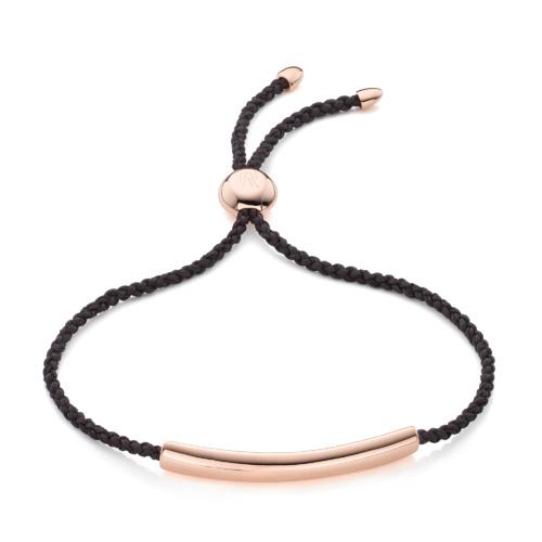 Rose Gold Vermeil Esencia Fine Corded Friendship Bracelet - Black - Monica Vinader