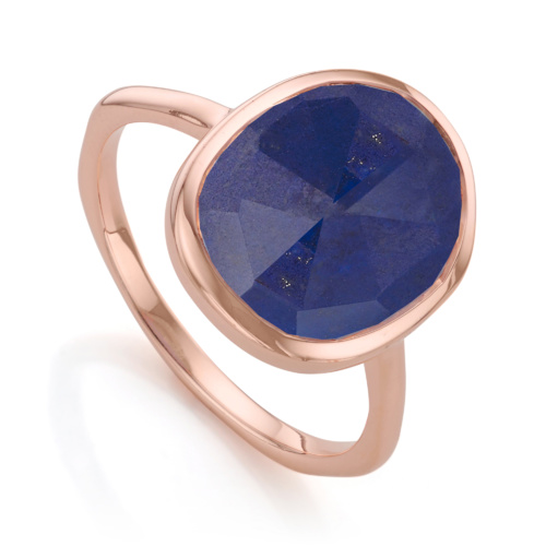 Rose Gold Vermeil Siren Medium Stacking Ring - Lapis - Monica Vinader