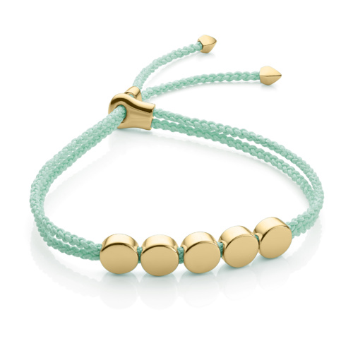 Gold Vermeil Linear Bead Friendship Bracelet - Mint - Monica Vinader