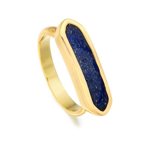 Gold Vermeil Baja Ring - Lapis - Monica Vinader