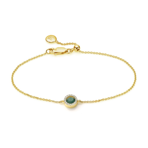 Gold Vermeil Naida Mini Circle Bracelet - Green Aventurine and Diamonds