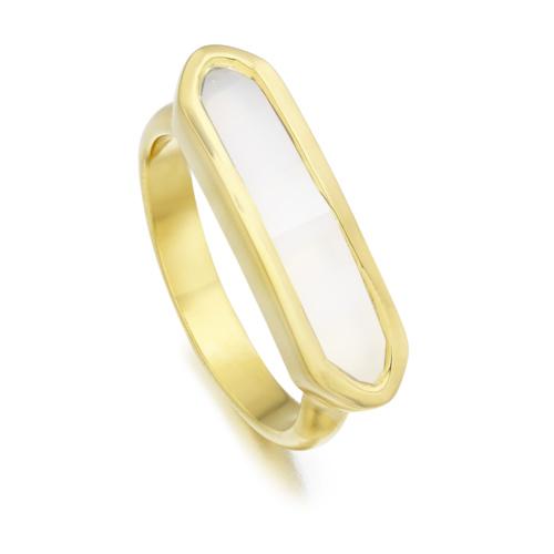 Gold Vermeil Baja Ring - White Chalcedony