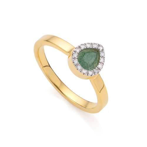 Gold Vermeil Naida Mini Lotus Ring - Green Aventurine and Diamonds