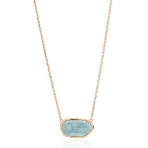 Rose Gold Vermeil Capri Necklace - Aquamarine