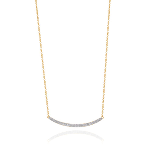 Gold Vermeil Skinny Curve Necklace - Diamond - Monica Vinader