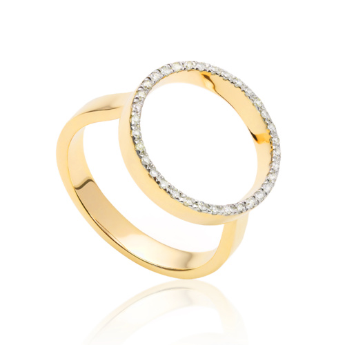 Gold Vermeil Naida Circle Open Ring - Diamond