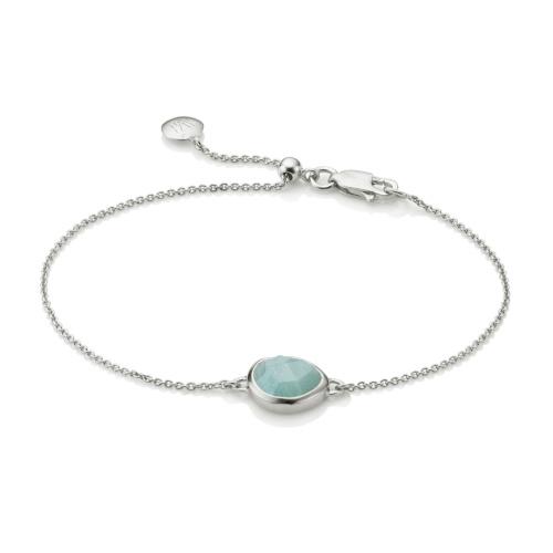 Mini Siren Fine Chain Bracelet - Aquamarine